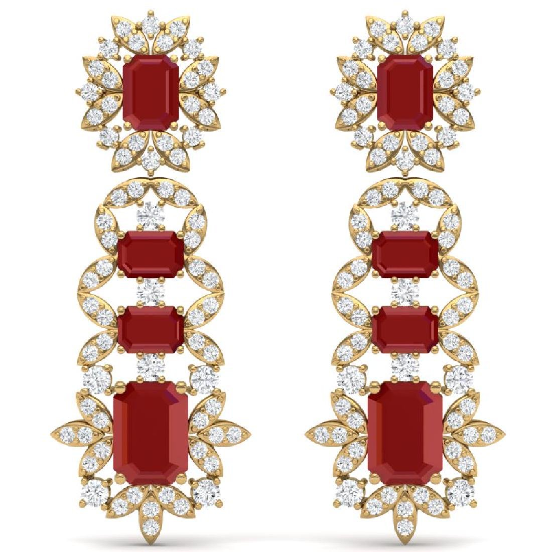 30.25 CTW Royalty Designer Ruby & VS Diamond Earrings