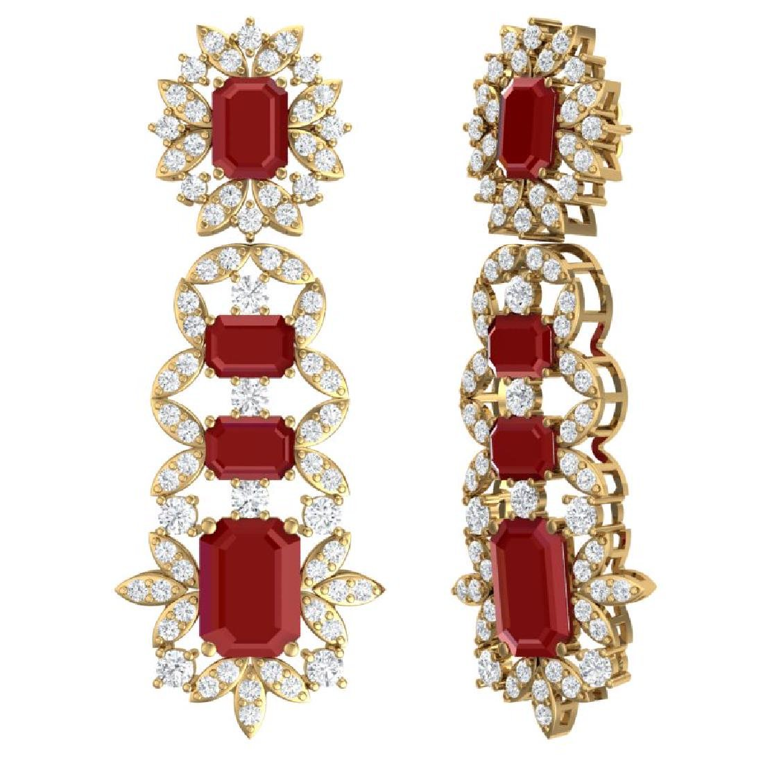 30.25 CTW Royalty Designer Ruby & VS Diamond Earrings - 3