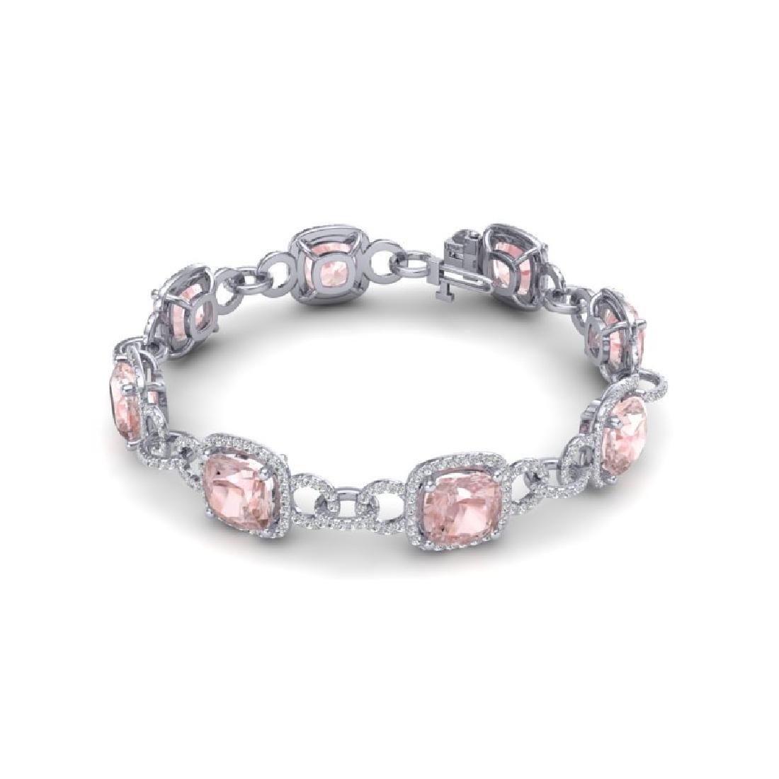 22 CTW Morganite & VS/SI Diamond Bracelet 14K White - 2