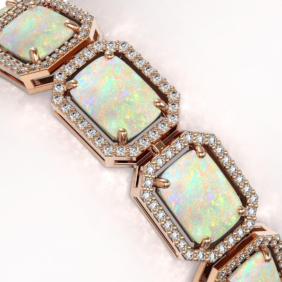 24.37 CTW Opal & Diamond Halo Bracelet 10K Rose Gold - 2