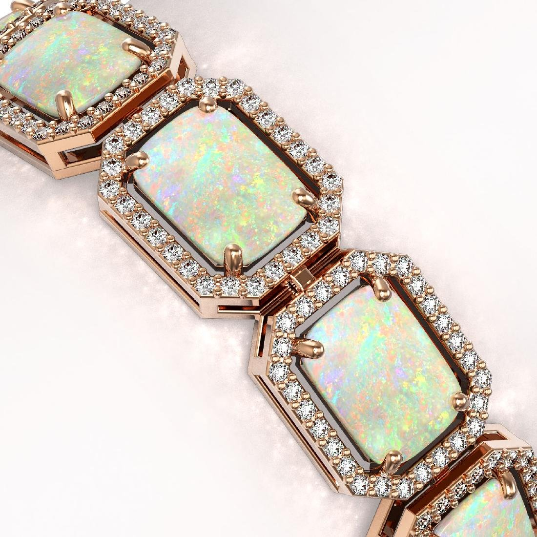 24.37 CTW Opal & Diamond Halo Bracelet 10K Rose Gold - 2