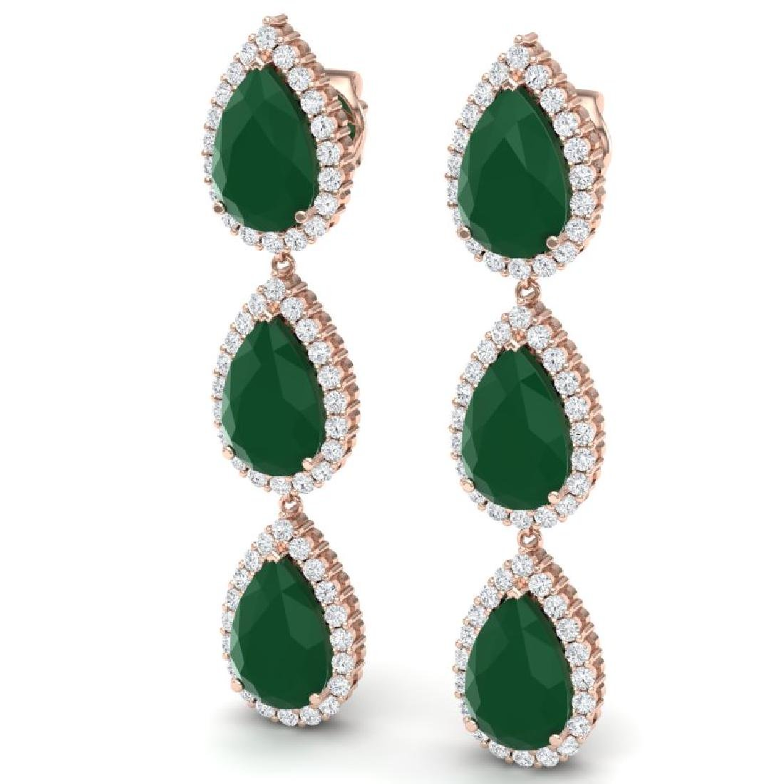 27.06 CTW Royalty Emerald & VS Diamond Earrings 18K - 2