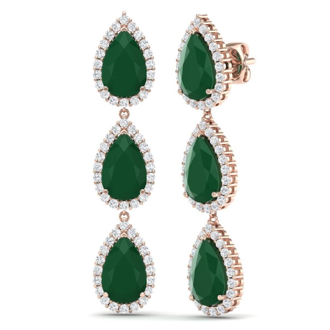 27.06 CTW Royalty Emerald & VS Diamond Earrings 18K - 3