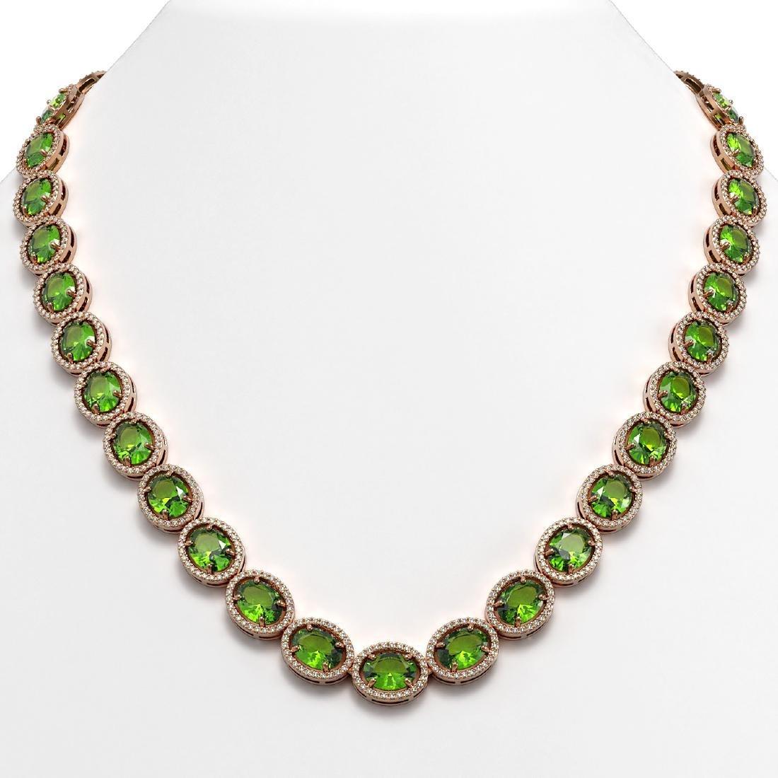64.84 CTW Peridot & Diamond Halo Necklace 10K Rose Gold