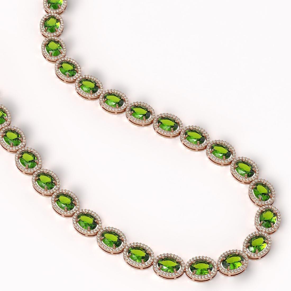 64.84 CTW Peridot & Diamond Halo Necklace 10K Rose Gold - 2