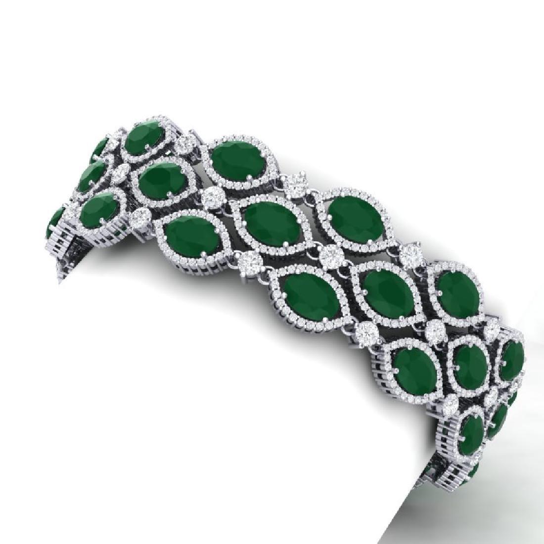 47.84 CTW Royalty Emerald & VS Diamond Bracelet 18K - 2