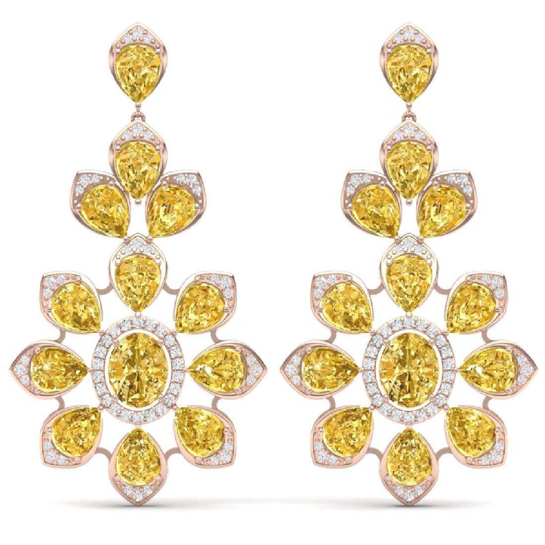 48.67 CTW Royalty Canary Citrine & VS Diamond Earrings