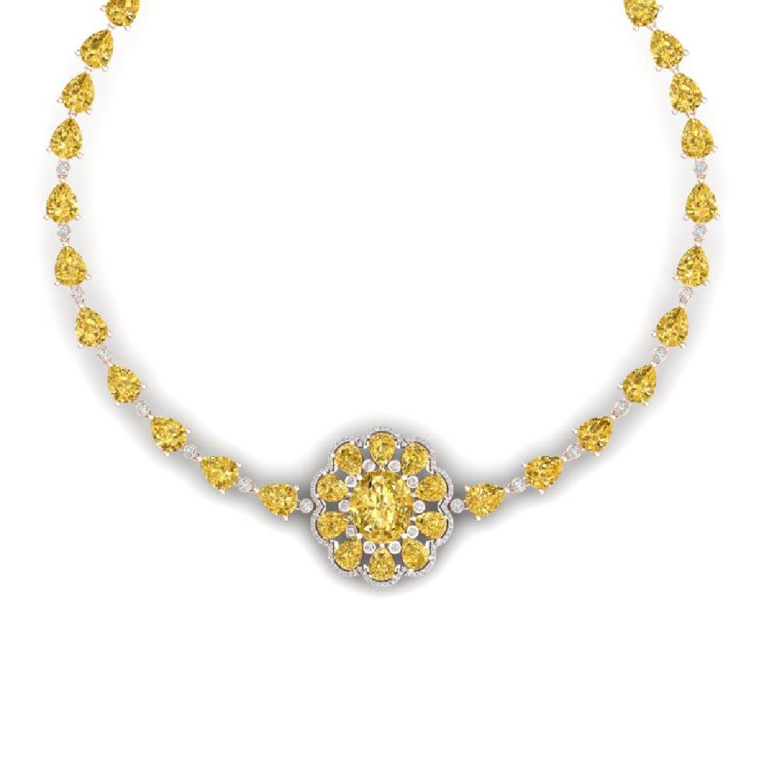 72.38 CTW Royalty Canary Citrine & VS Diamond Necklace - 2