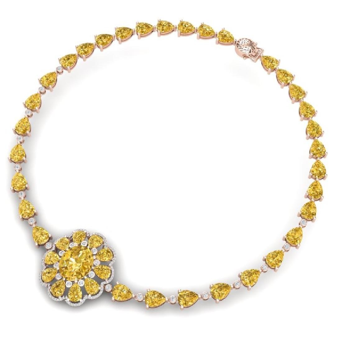 72.38 CTW Royalty Canary Citrine & VS Diamond Necklace - 3