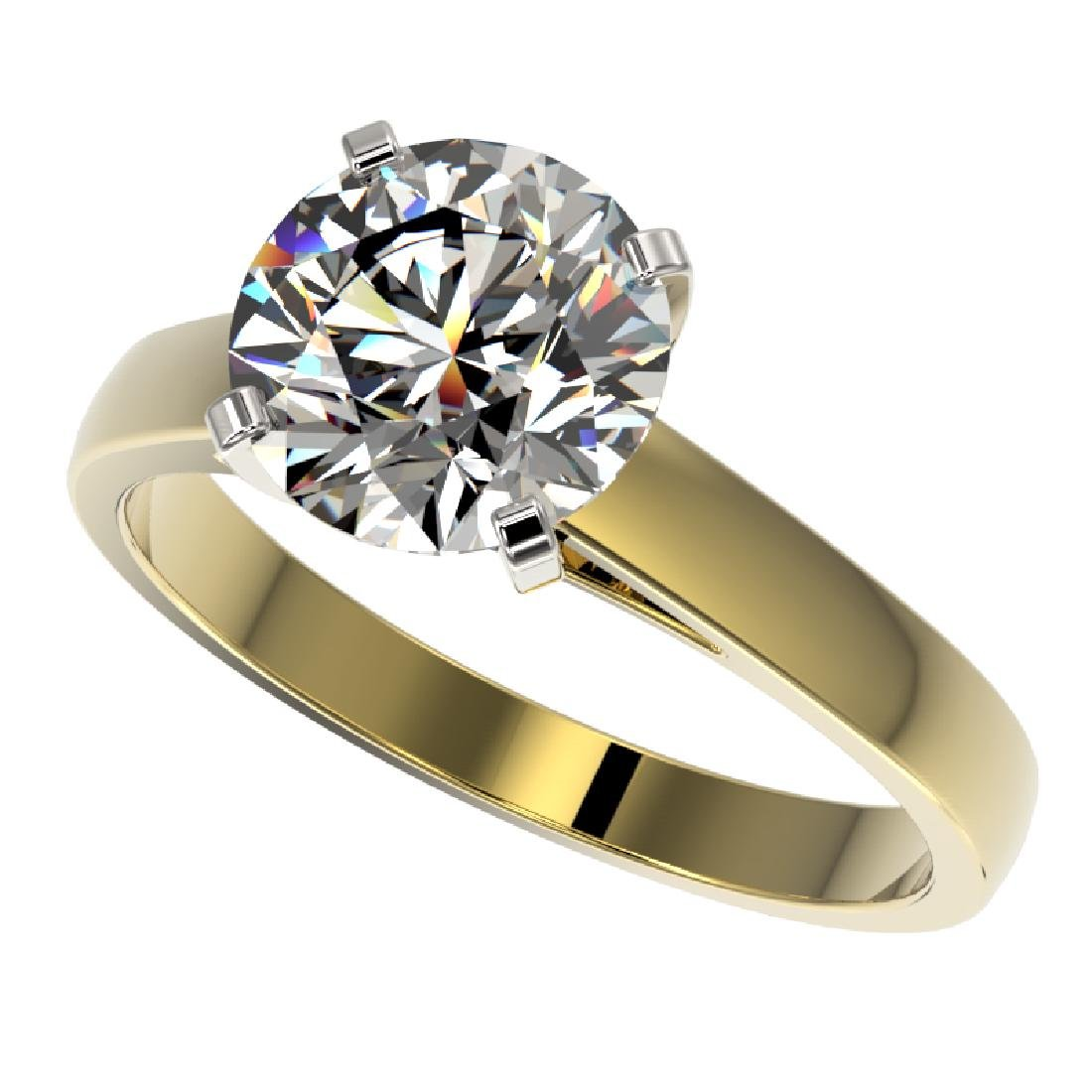 2.55 CTW Certified H-I Quality Diamond Solitaire Ring