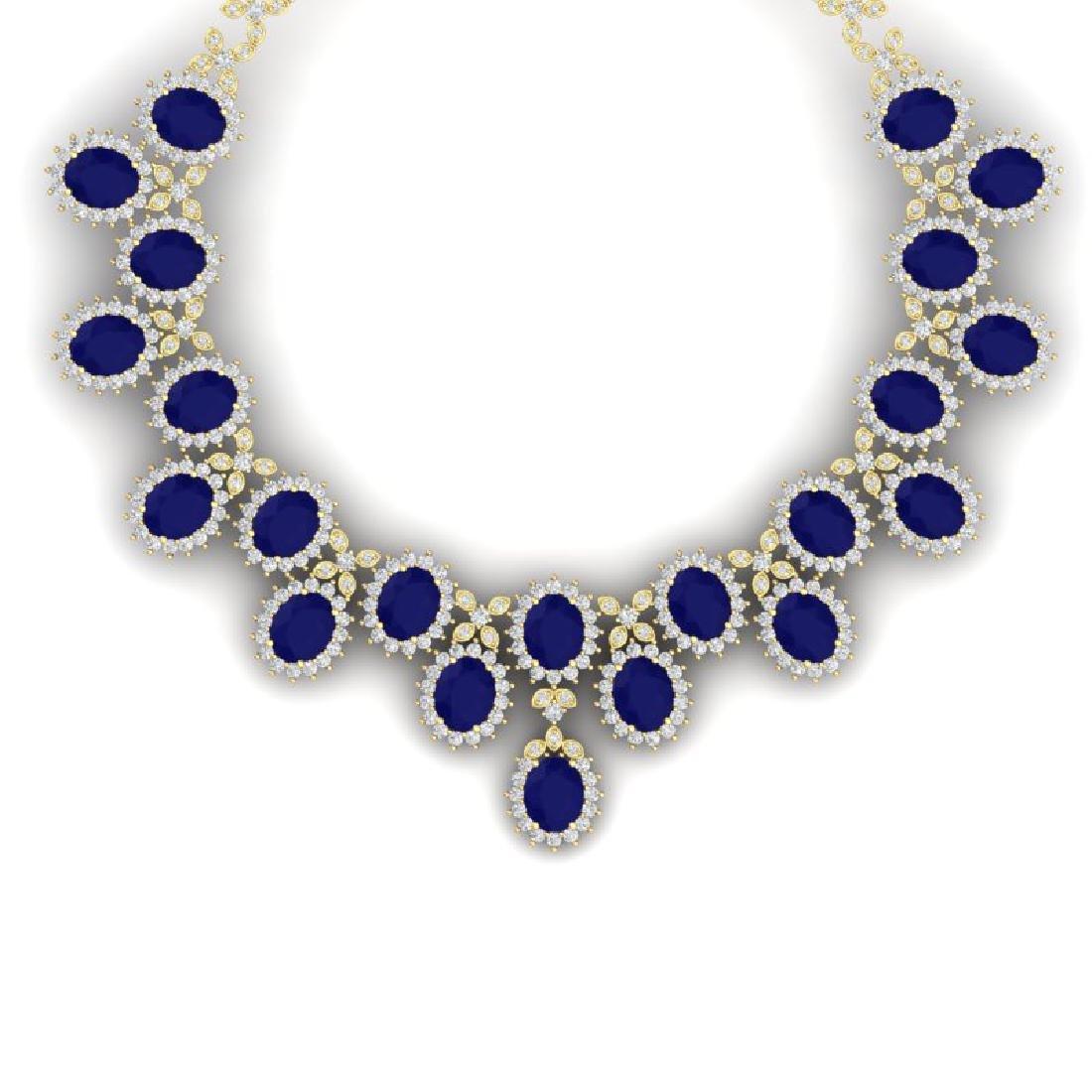 81 CTW Royalty Sapphire & VS Diamond Necklace 18K