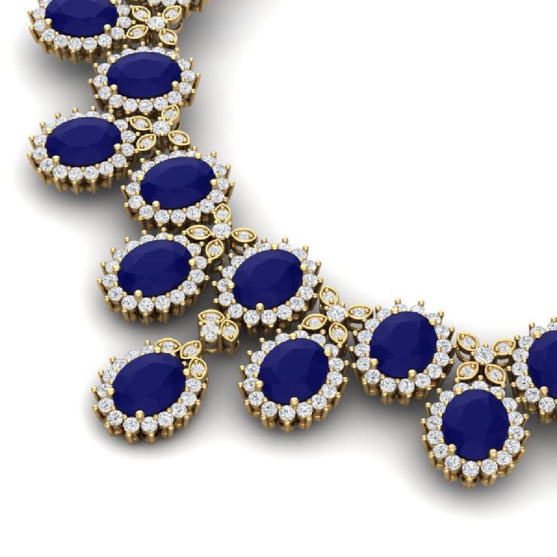81 CTW Royalty Sapphire & VS Diamond Necklace 18K - 2