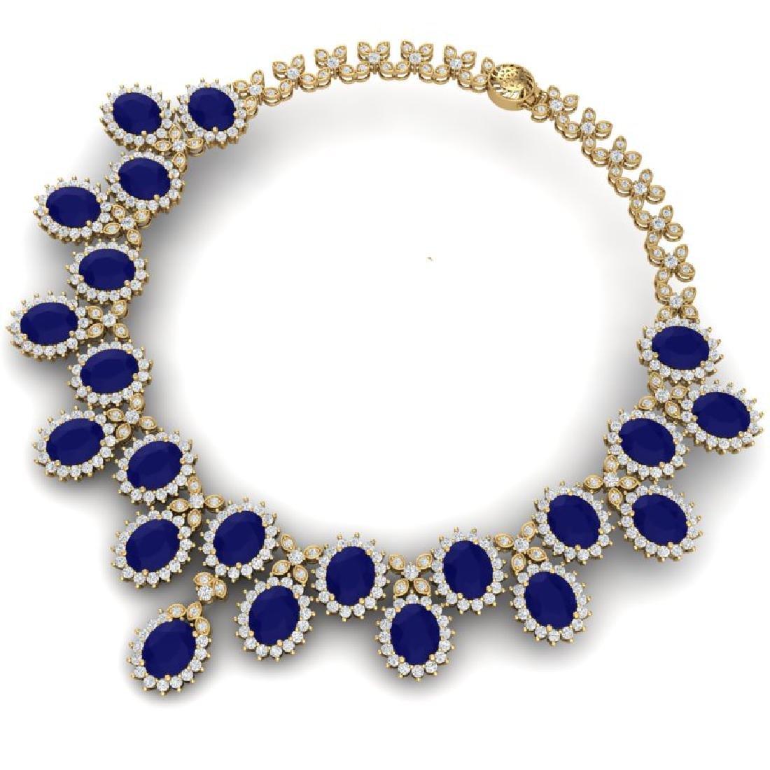 81 CTW Royalty Sapphire & VS Diamond Necklace 18K - 3