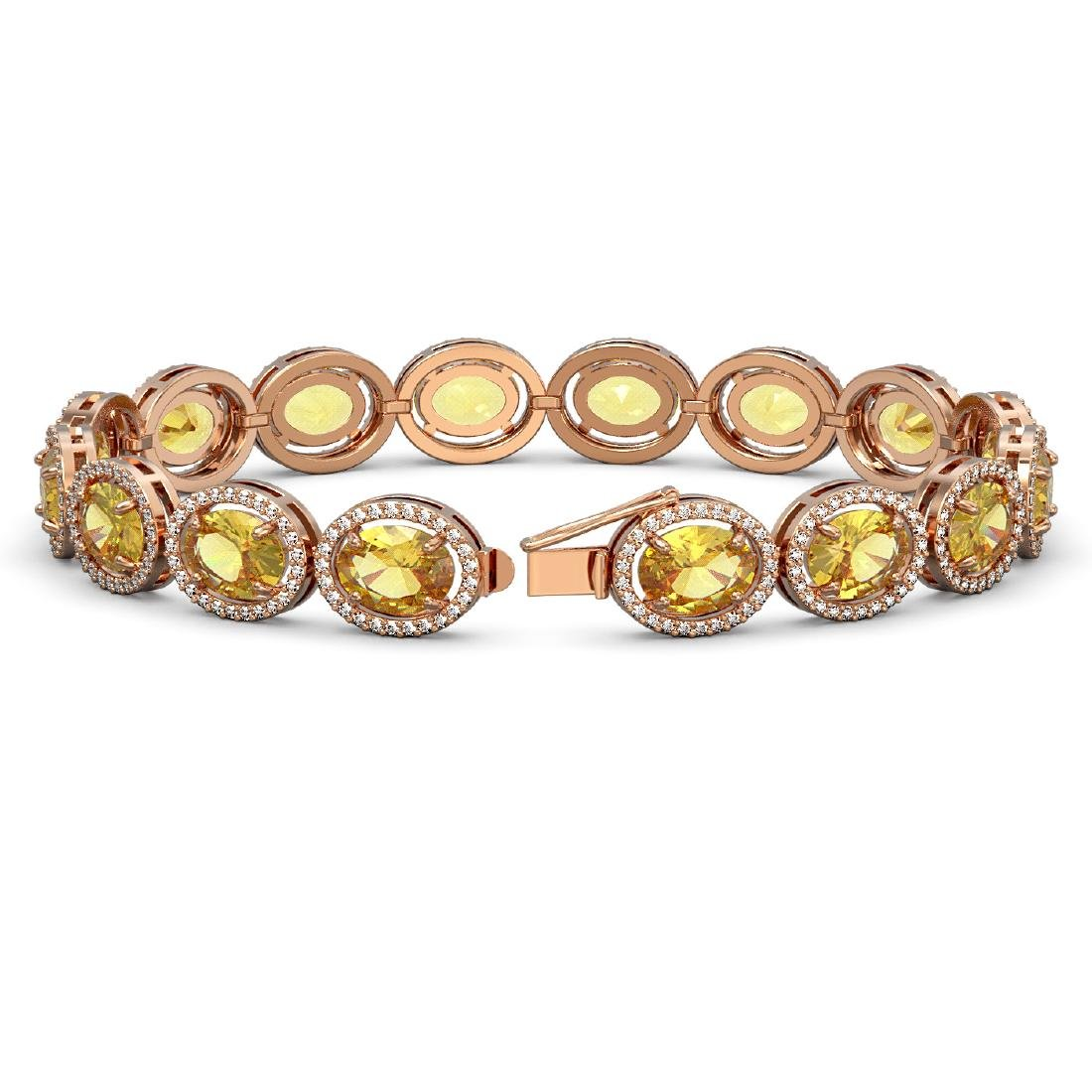 25.24 CTW Fancy Citrine & Diamond Halo Bracelet 10K - 2
