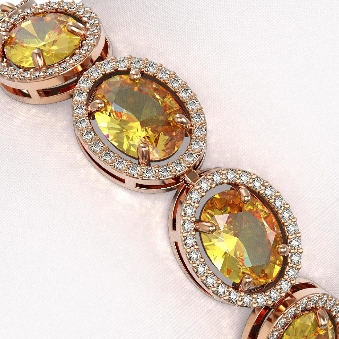 25.24 CTW Fancy Citrine & Diamond Halo Bracelet 10K - 3