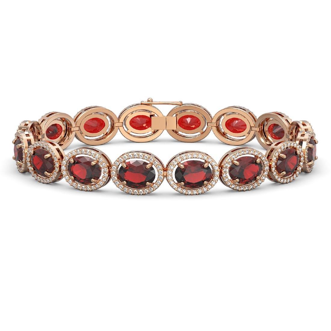 27.28 CTW Garnet & Diamond Halo Bracelet 10K Rose Gold