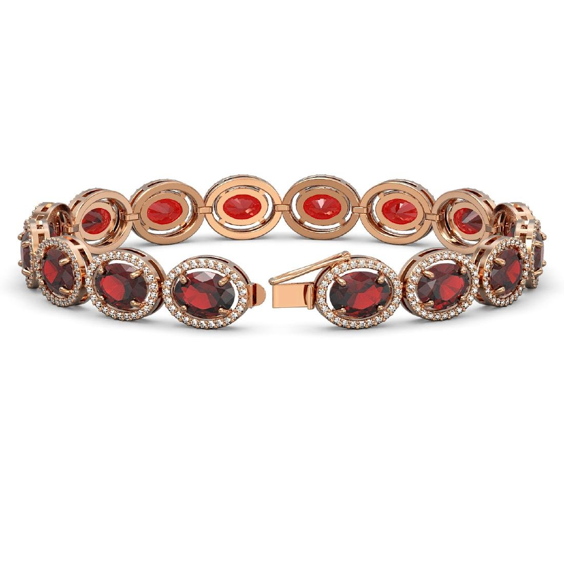 27.28 CTW Garnet & Diamond Halo Bracelet 10K Rose Gold - 2