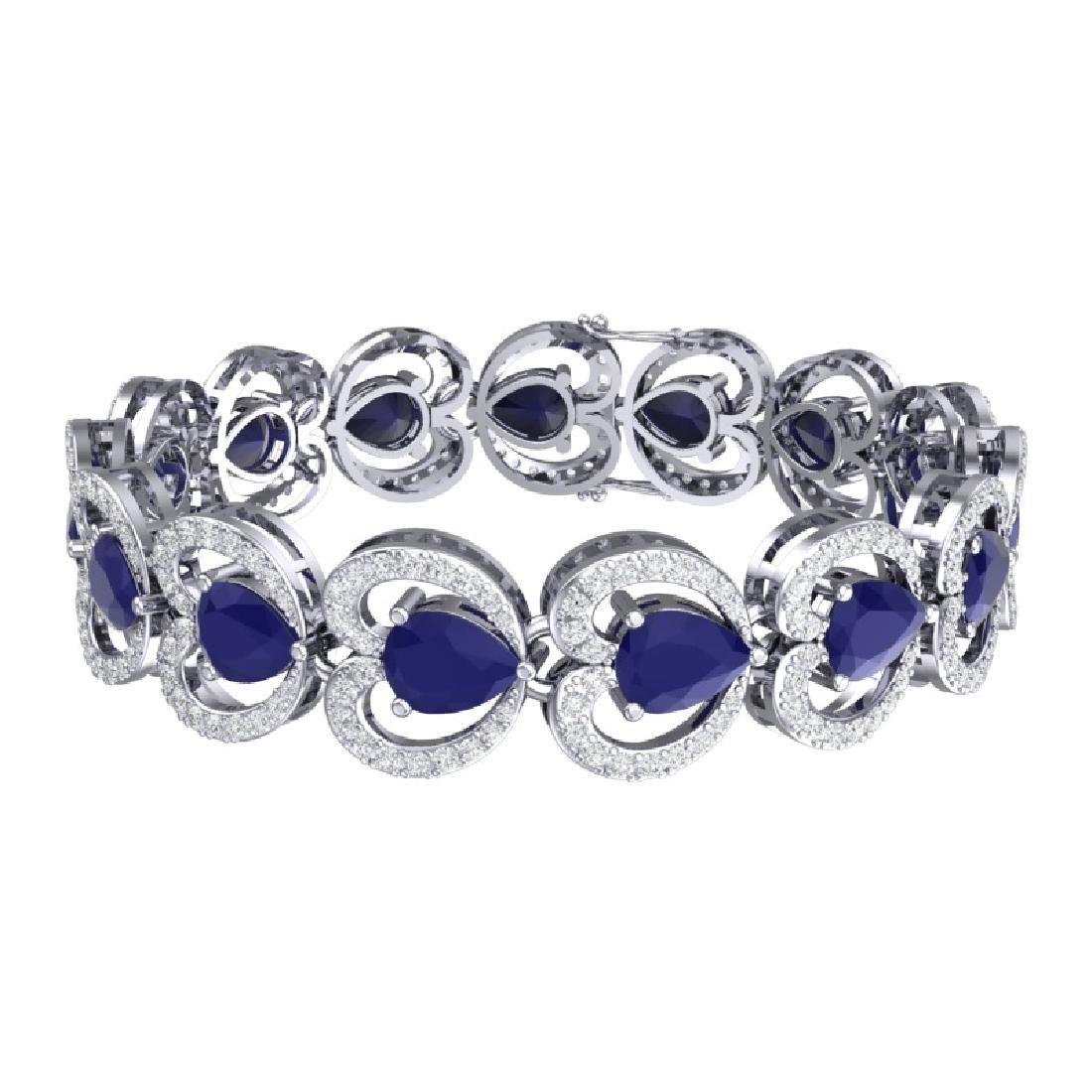 32.15 CTW Royalty Sapphire & VS Diamond Bracelet 18K - 3