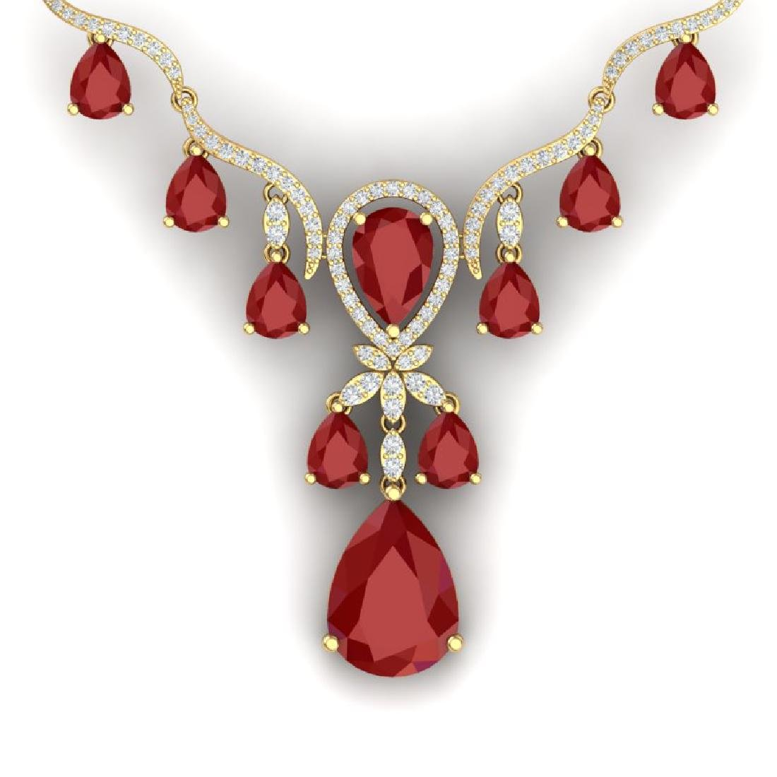 36.14 CTW Royalty Ruby & VS Diamond Necklace 18K Yellow
