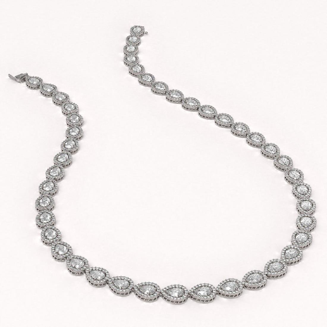 33.08 CTW Pear Diamond Designer Necklace 18K White Gold - 2