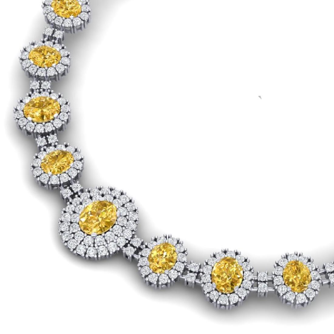 43.20 CTW Royalty Canary Citrine & VS Diamond Necklace - 2