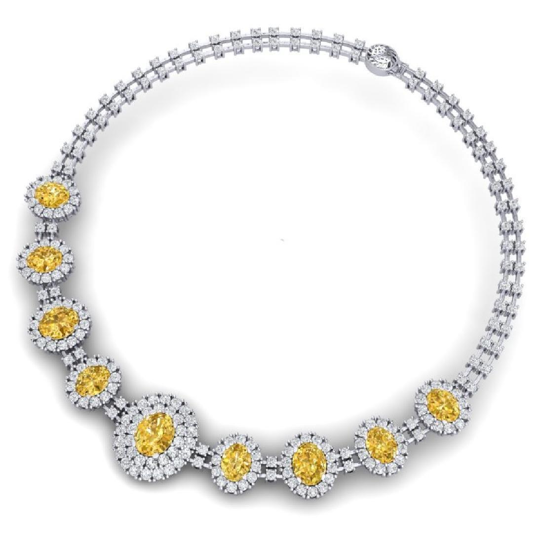 43.20 CTW Royalty Canary Citrine & VS Diamond Necklace - 3