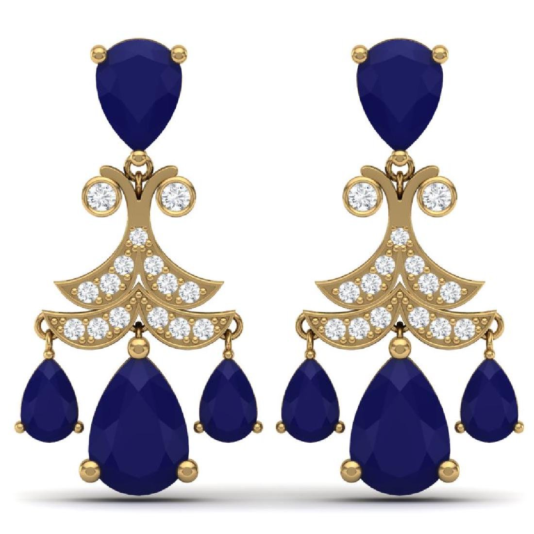 11.97 CTW Royalty Sapphire & VS Diamond Earrings 18K