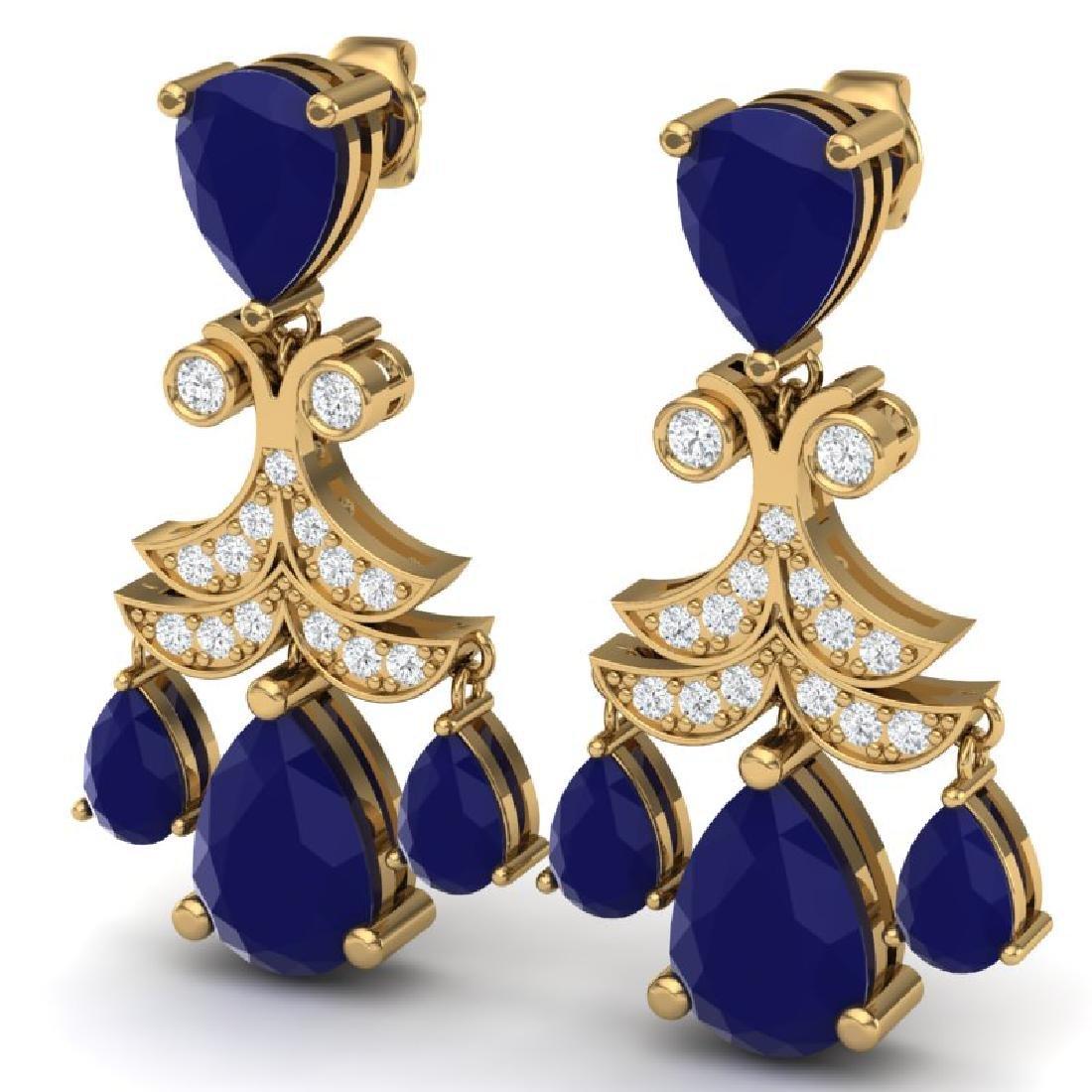 11.97 CTW Royalty Sapphire & VS Diamond Earrings 18K - 2