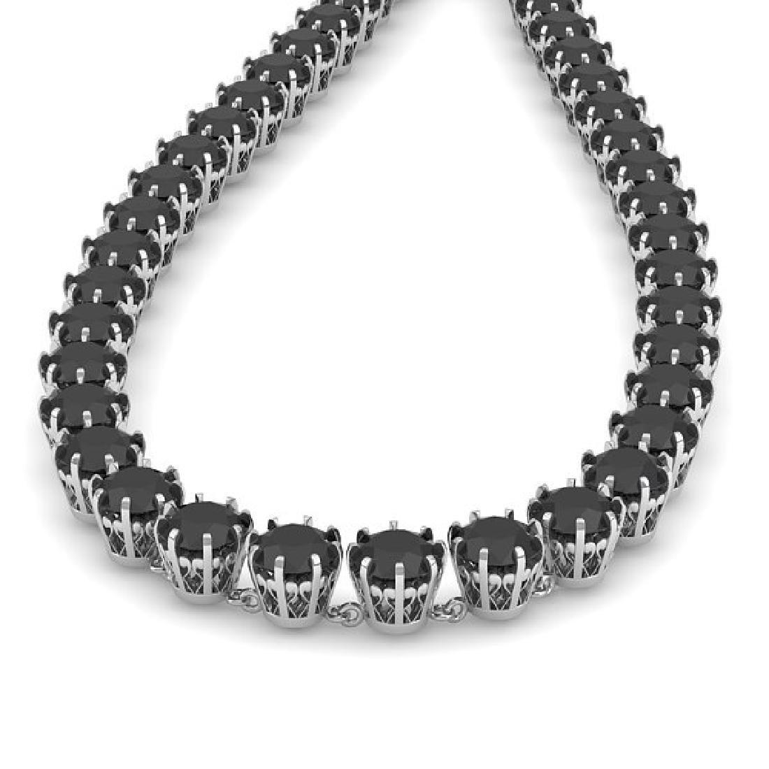 54 CTW Certified Black VS Diamond Necklace 18K White - 2