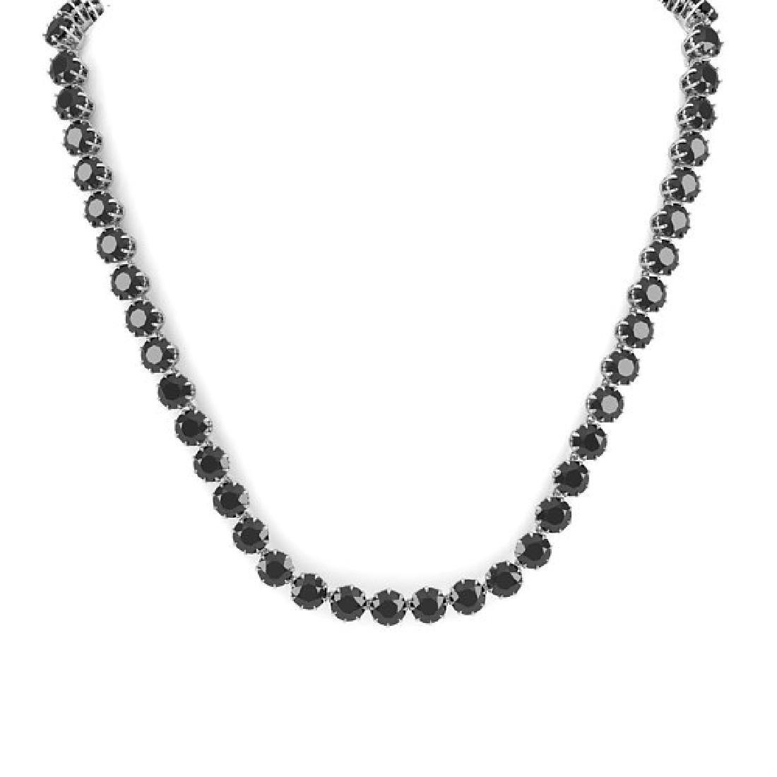 54 CTW Certified Black VS Diamond Necklace 18K White - 3