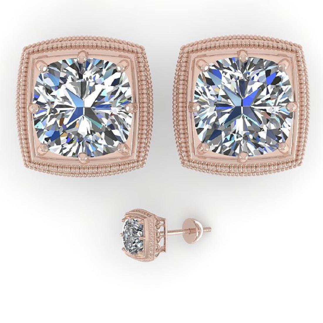 2.0 CTW VS/SI Cushion Cut Diamond Stud Earrings Deco - 2