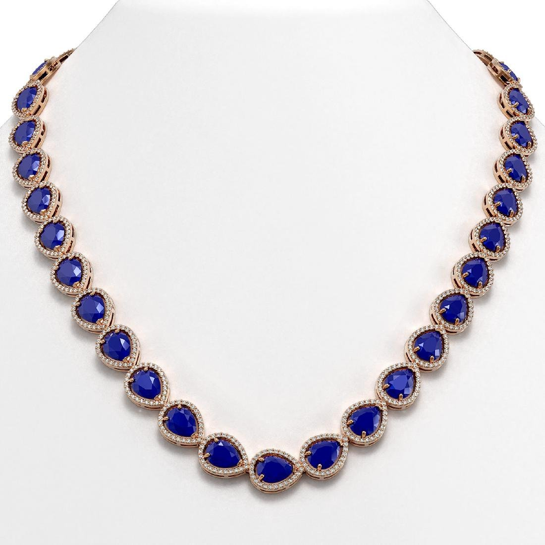 64.01 CTW Sapphire & Diamond Halo Necklace 10K Rose