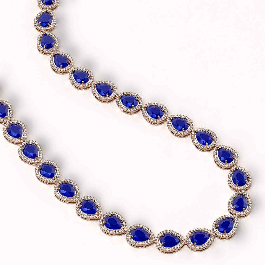 64.01 CTW Sapphire & Diamond Halo Necklace 10K Rose - 2