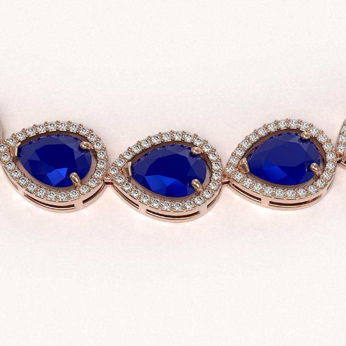 64.01 CTW Sapphire & Diamond Halo Necklace 10K Rose - 3