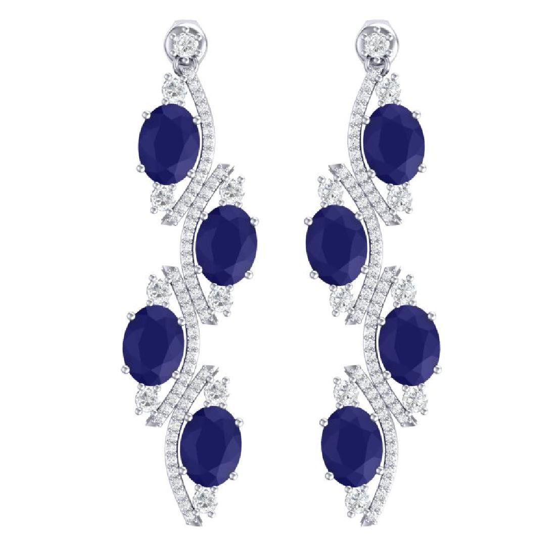 16.12 CTW Royalty Sapphire & VS Diamond Earrings 18K