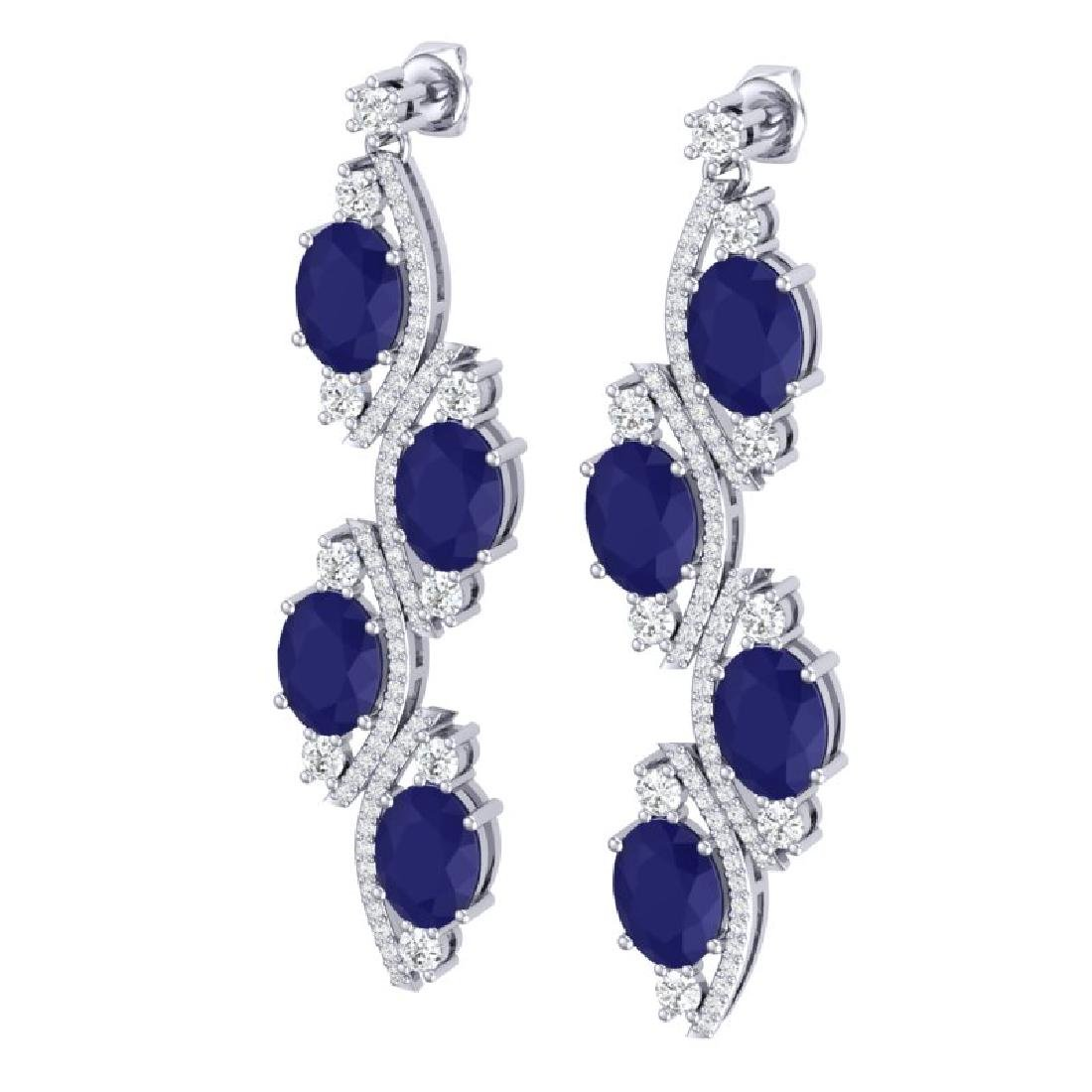 16.12 CTW Royalty Sapphire & VS Diamond Earrings 18K - 2