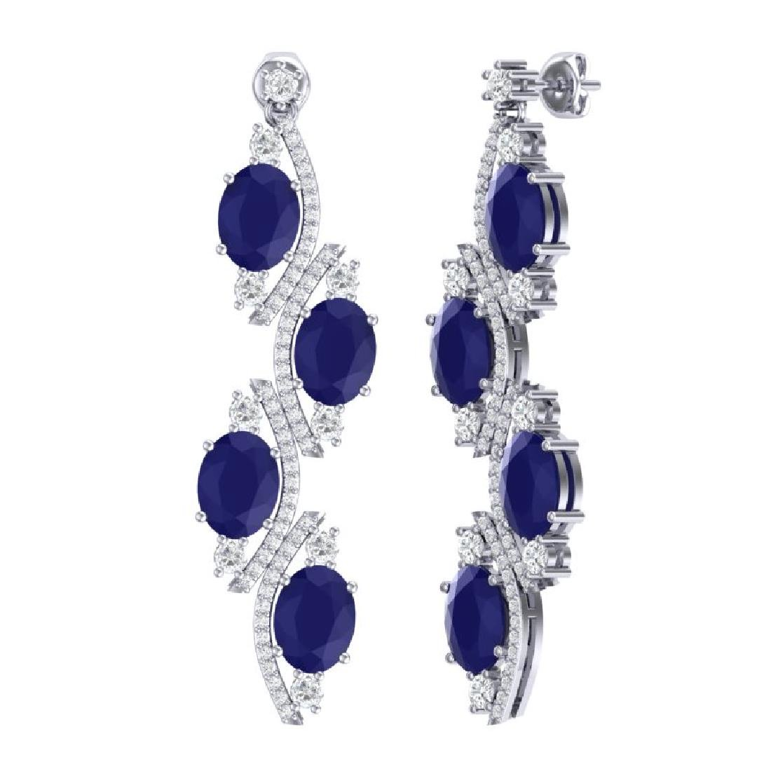 16.12 CTW Royalty Sapphire & VS Diamond Earrings 18K - 3