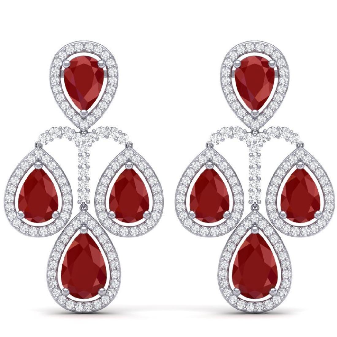 29.23 CTW Royalty Designer Ruby & VS Diamond Earrings