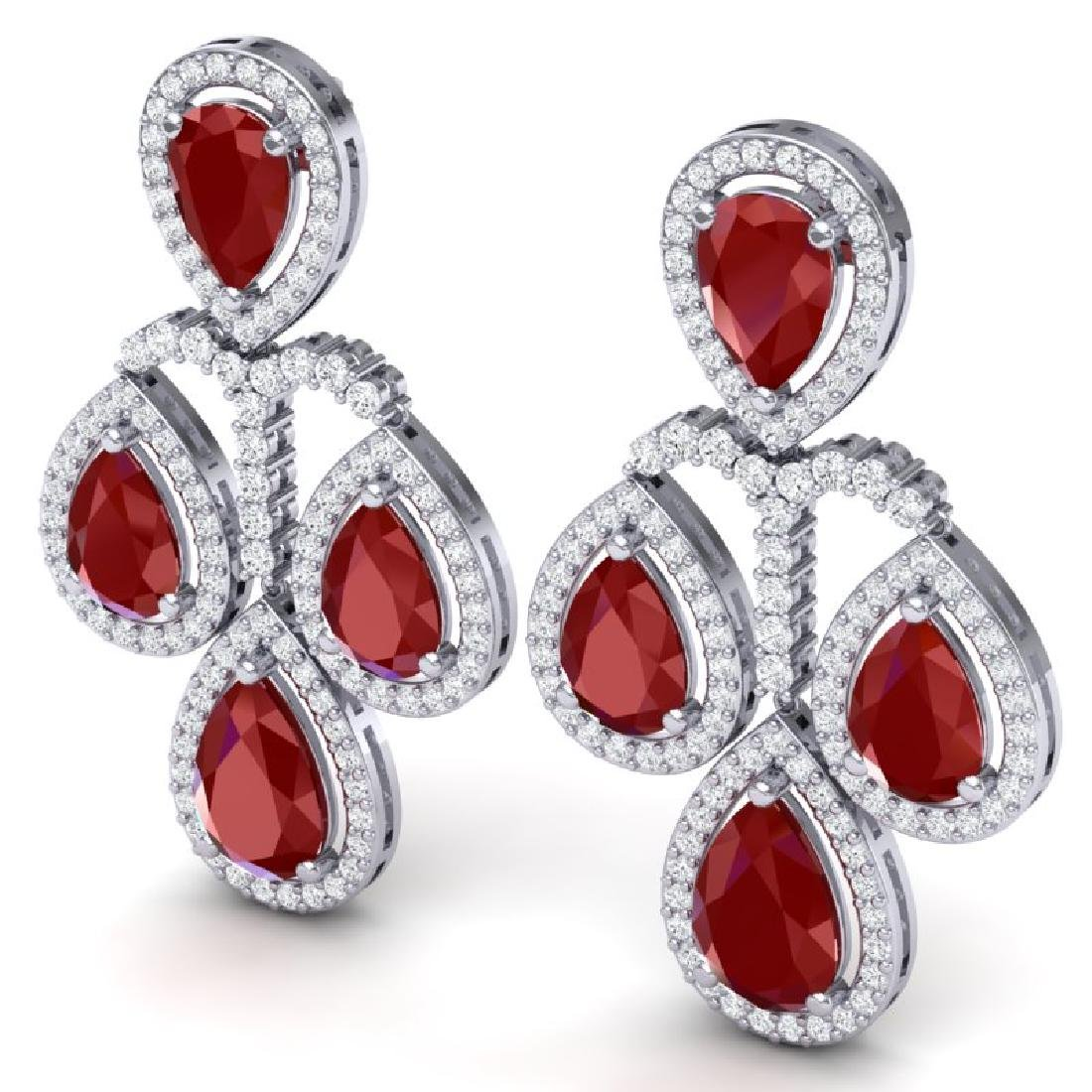 29.23 CTW Royalty Designer Ruby & VS Diamond Earrings - 2
