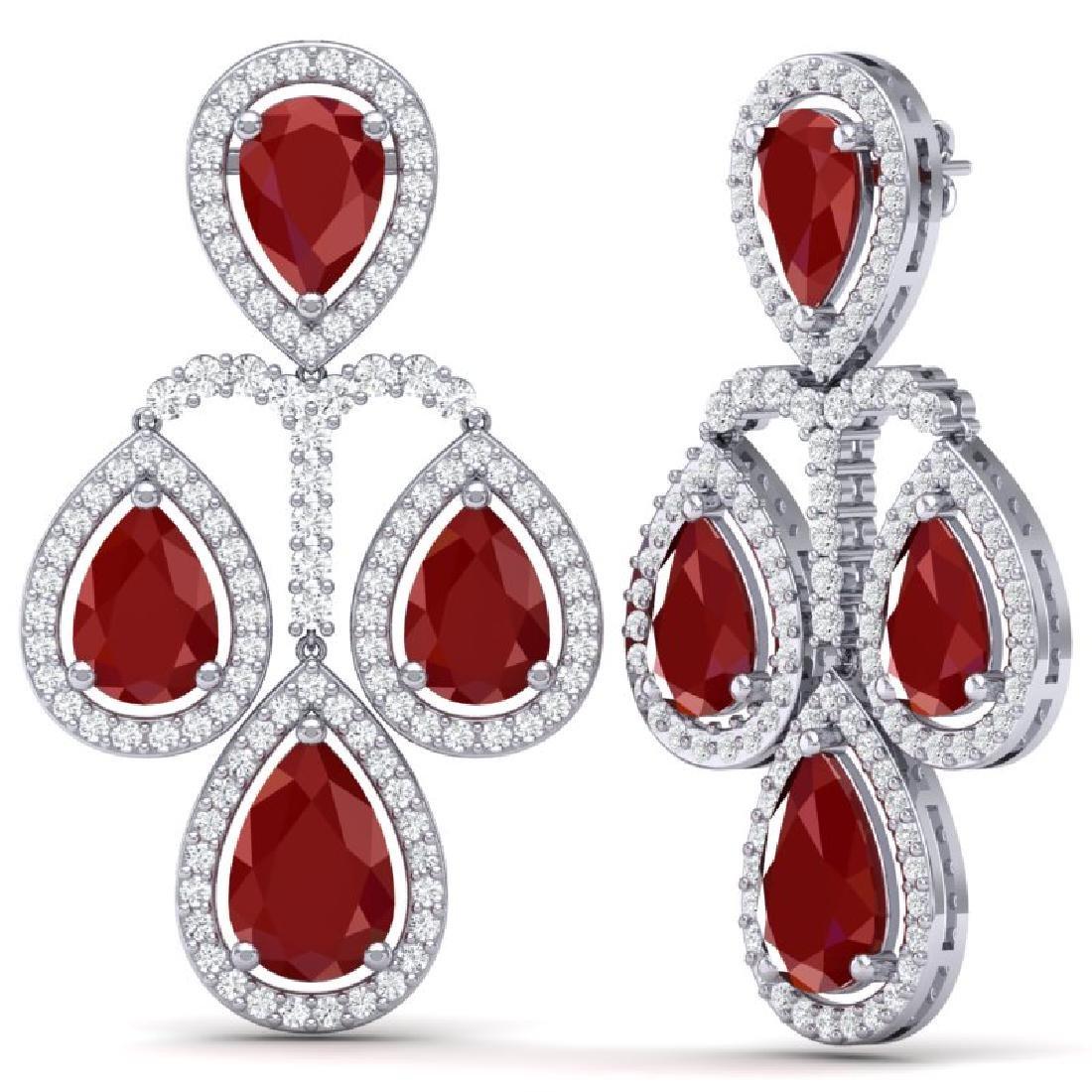 29.23 CTW Royalty Designer Ruby & VS Diamond Earrings - 3