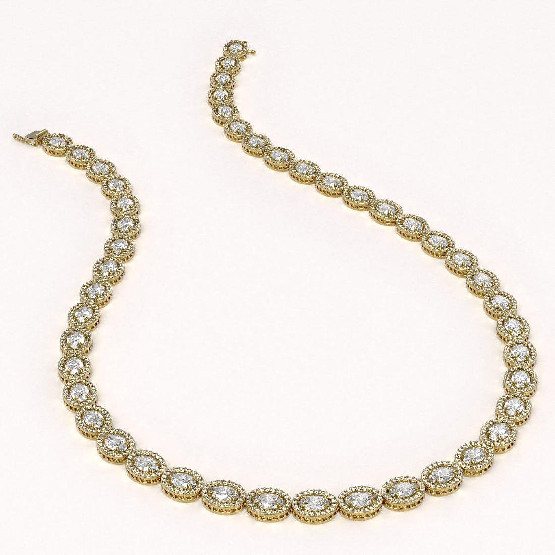 34.96 CTW Oval Diamond Designer Necklace 18K Yellow