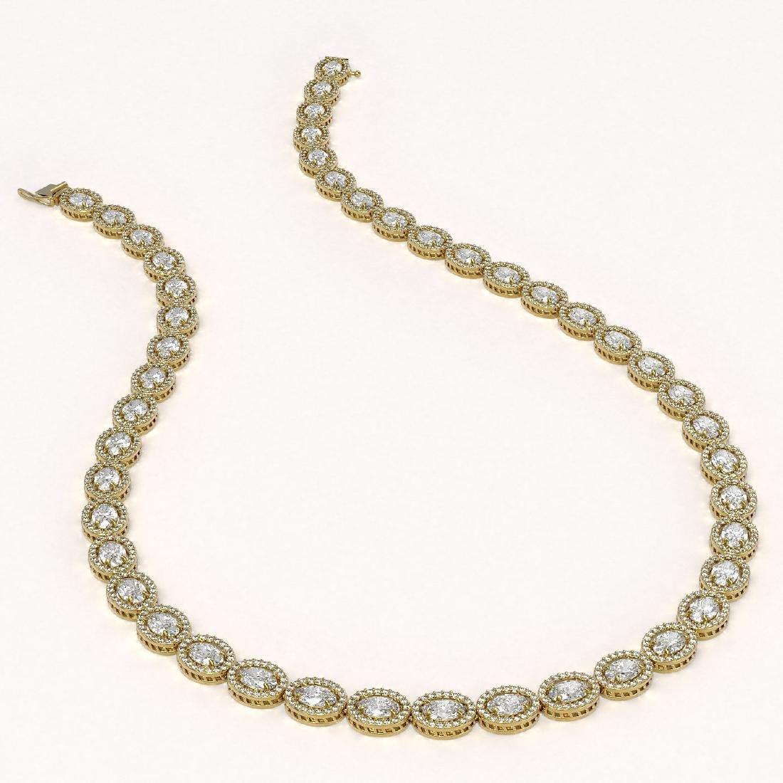 34.96 CTW Oval Diamond Designer Necklace 18K Yellow