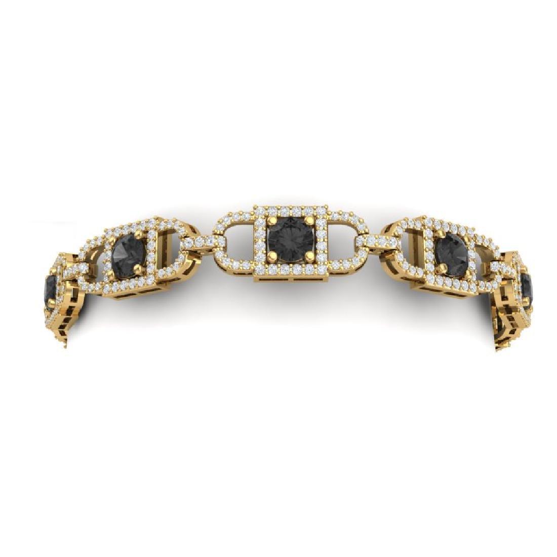 8 CTW Black And White Diamond Bracelet 18K Yellow Gold - 2