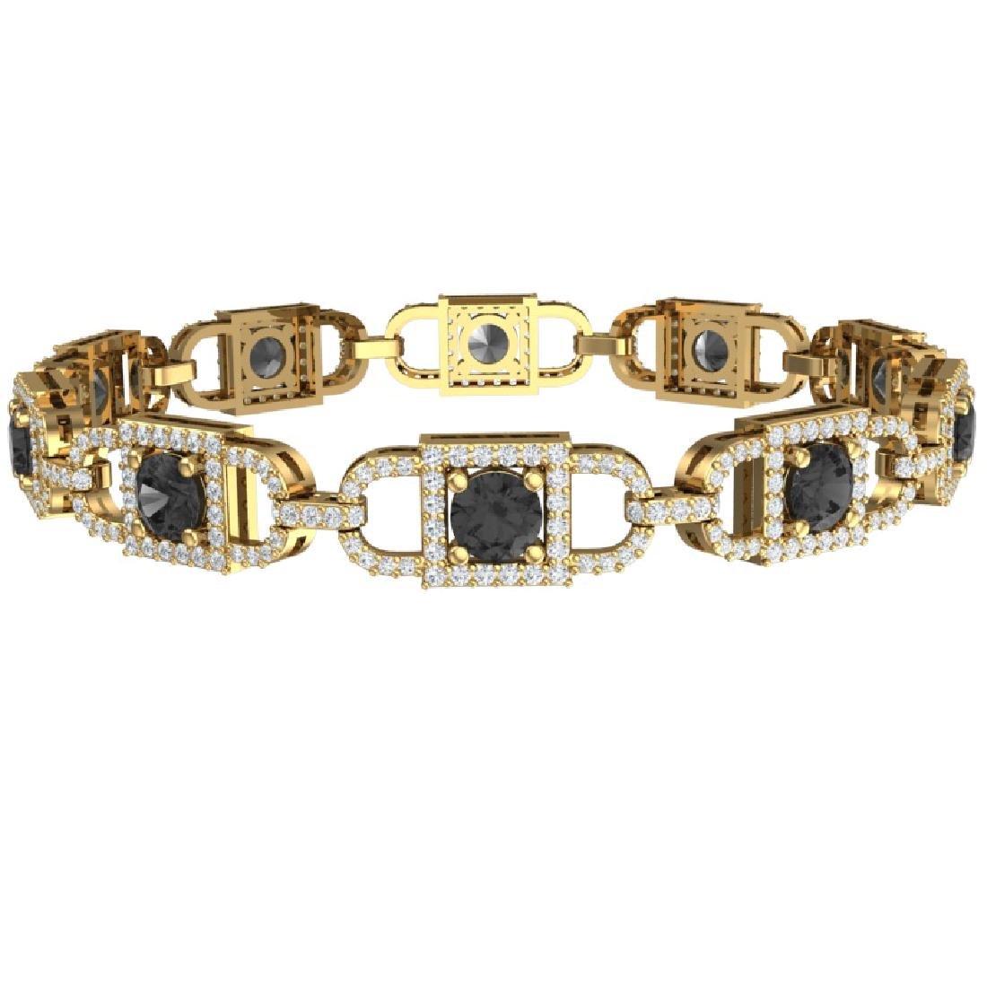 8 CTW Black And White Diamond Bracelet 18K Yellow Gold - 3