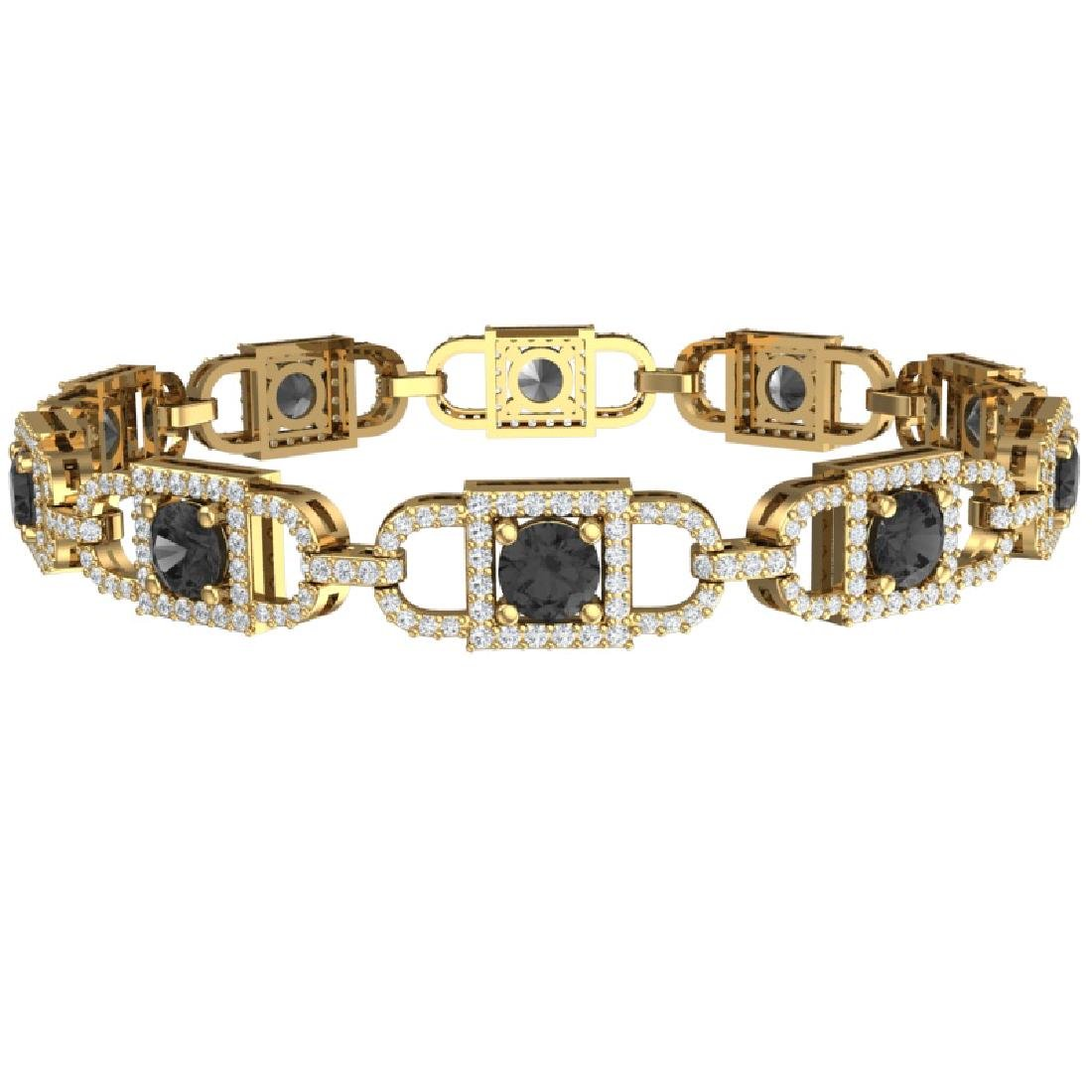 8 CTW Black And White Diamond Bracelet 18K Yellow Gold - 3