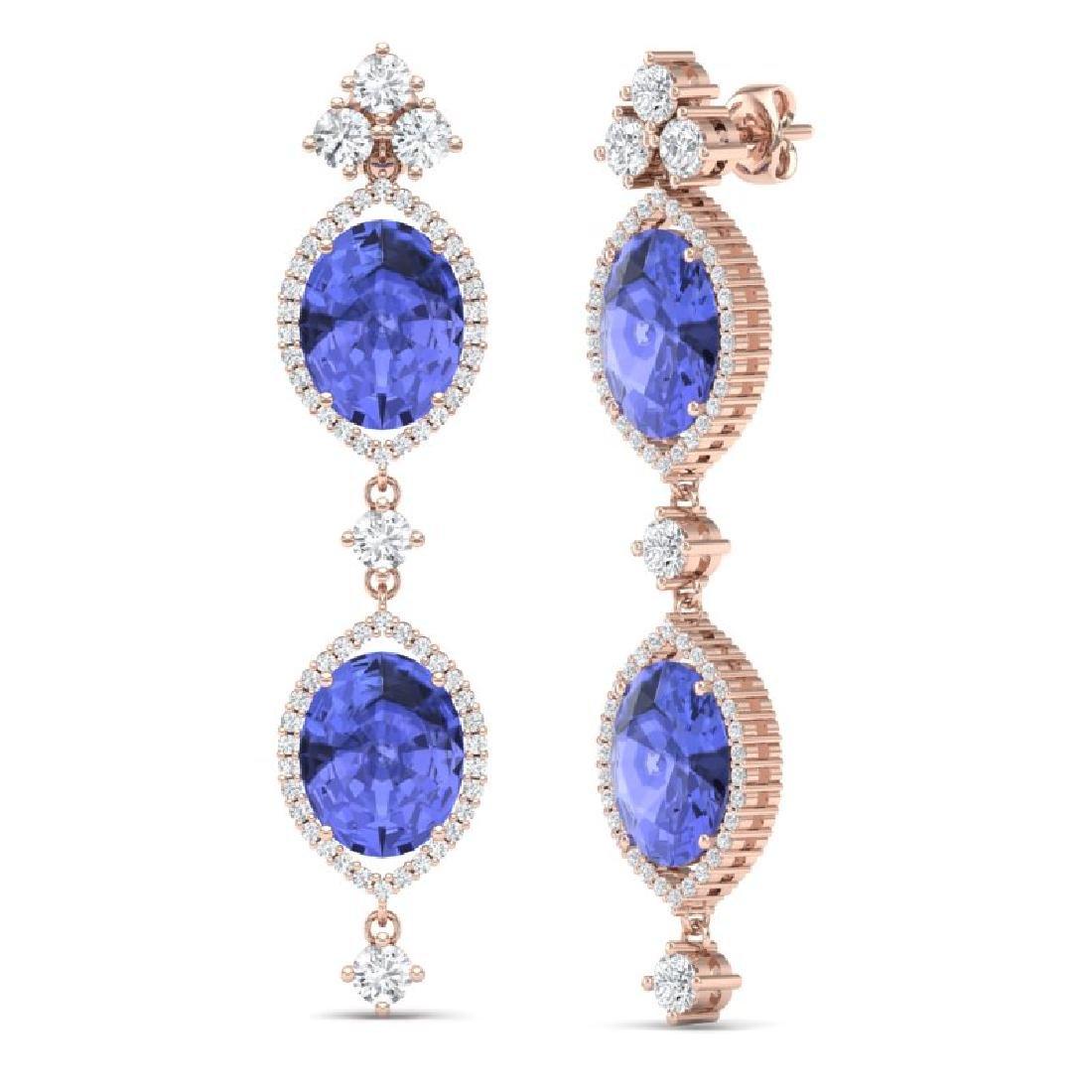 16.21 CTW Royalty Tanzanite & VS Diamond Earrings 18K - 3