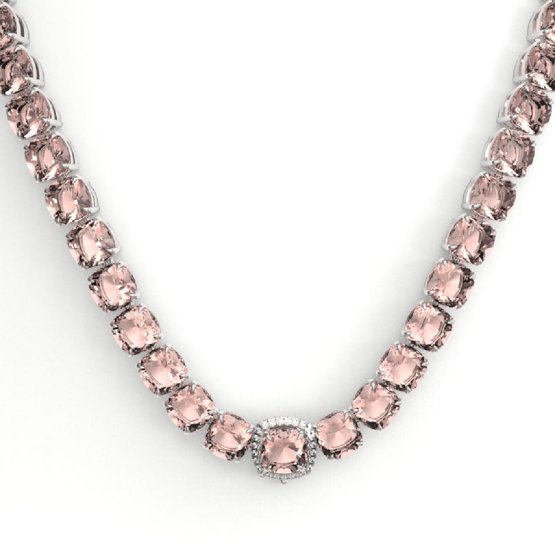 87 CTW Morganite & VS/SI Diamond Necklace 14K White - 2