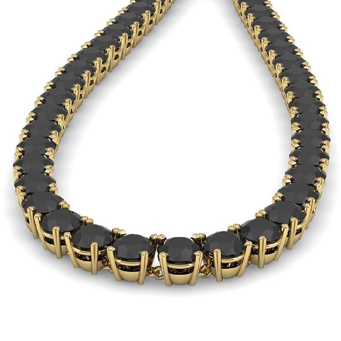 40 CTW Certified Black VS Diamond Necklace 18K Yellow - 2