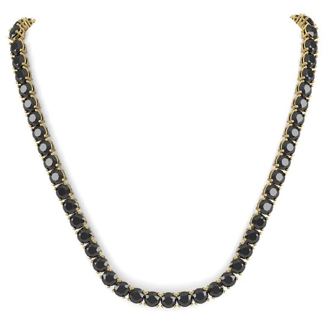 40 CTW Certified Black VS Diamond Necklace 18K Yellow - 3