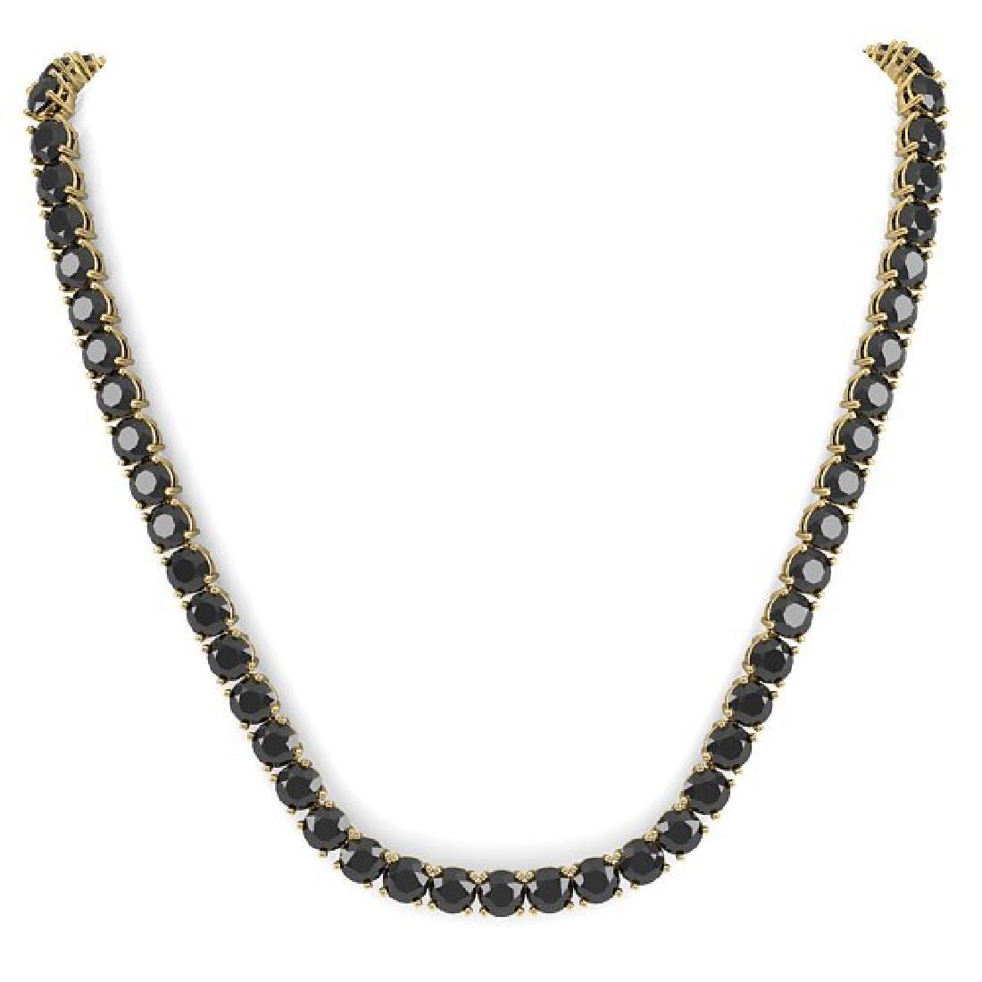 40 CTW Certified Black VS Diamond Necklace 18K Yellow - 3